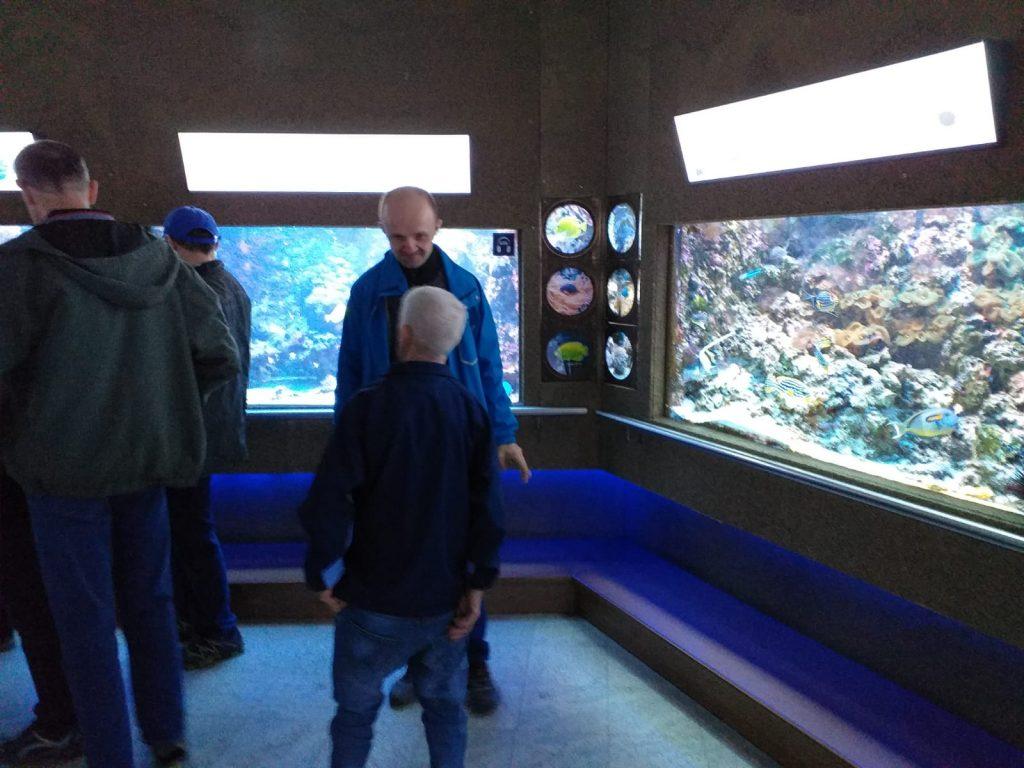 Mieszkańcy rozmawiający o rybach w tle dwa duże akwaria.