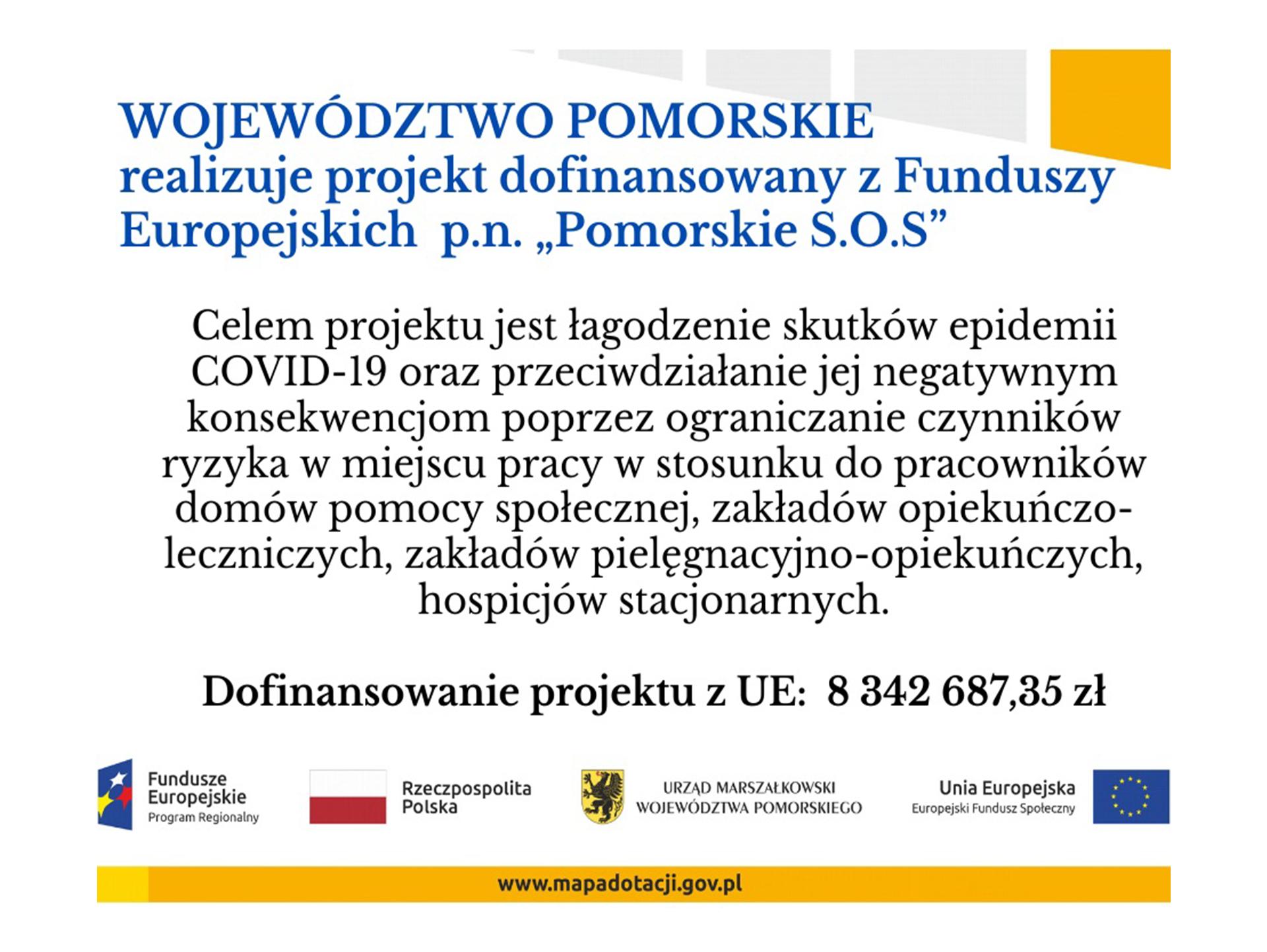 """Plakat Projektu UE pt. """"Pomorskie S.O.S"""""""
