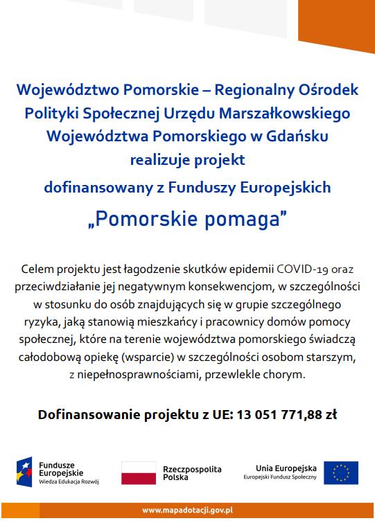"""Plakat EU Projektu """"Pomorskie Pomaga"""""""