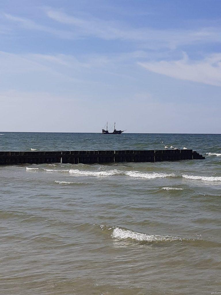 Widok morza oraz niedużych fal, w tle daleko statek
