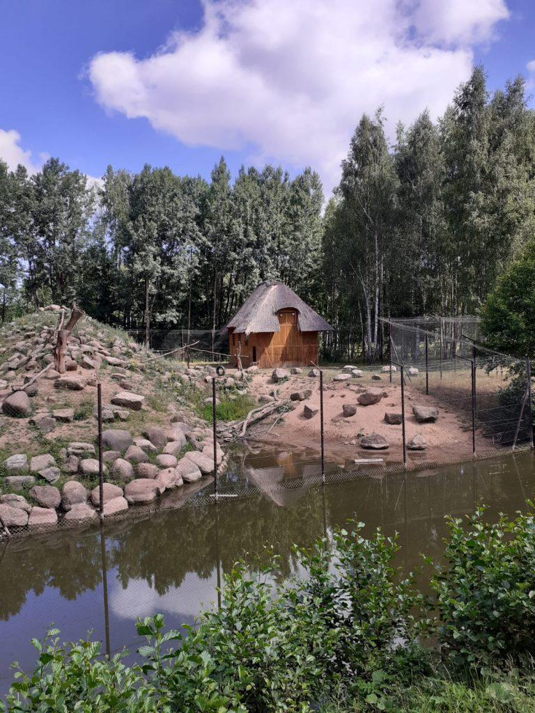 Widok z góry, widać wodę, za nią wysoki ogrodzony płot, w środku domek drewniany , małą górkę i wiele skał. W tle drzewa.