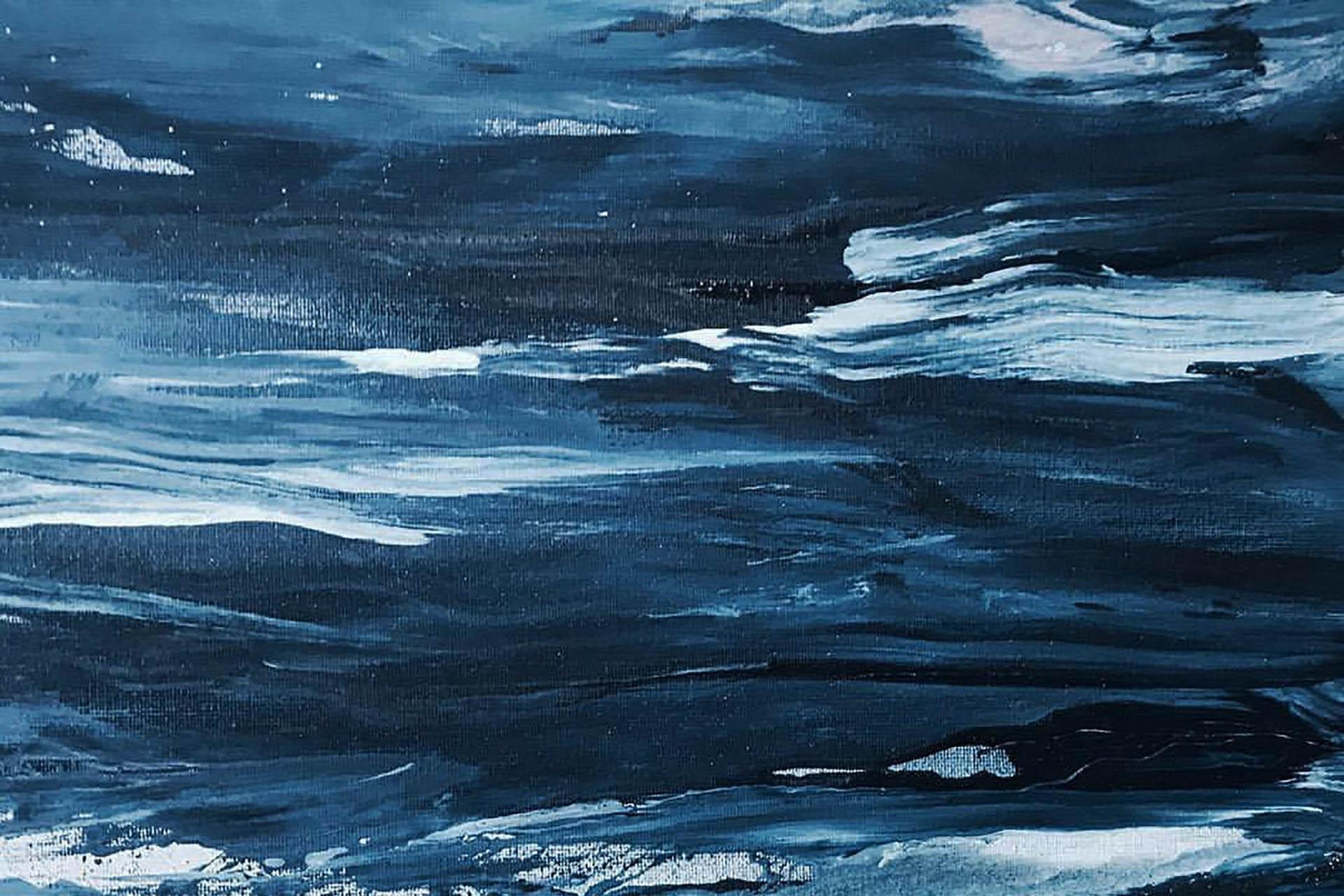Pomalowane płótno ciemnym kolorem, przecierane jasną farbą