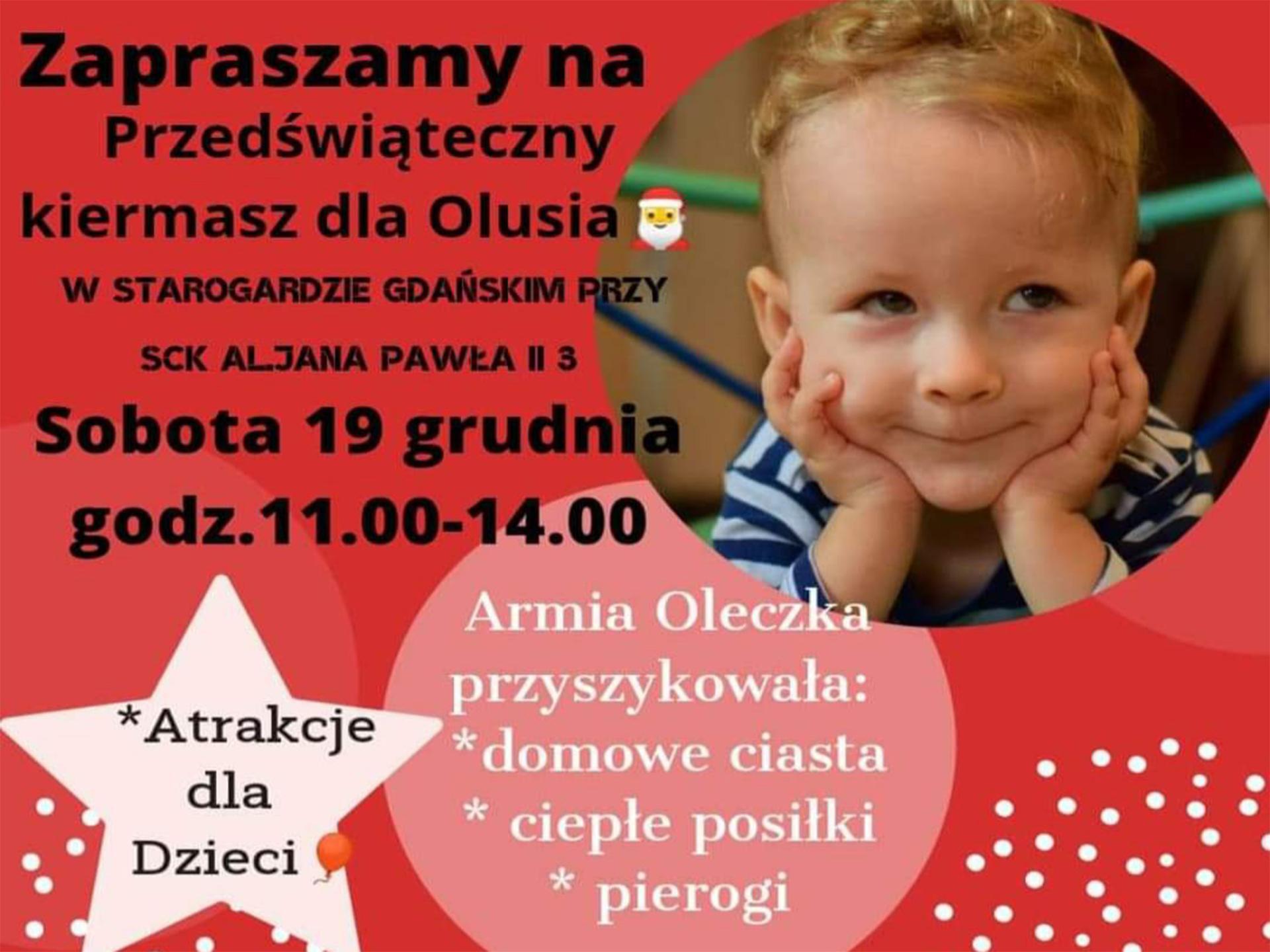 Plakat z datą, godziną i krótkim opisem o akcji charytatywnej dla Olusia chorego na SMA